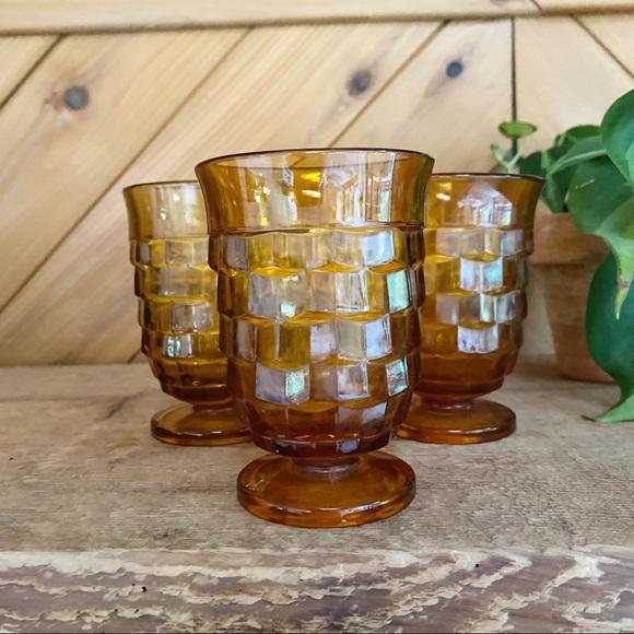 Vintage Amber Pedestal Drinking Juice Glass Set